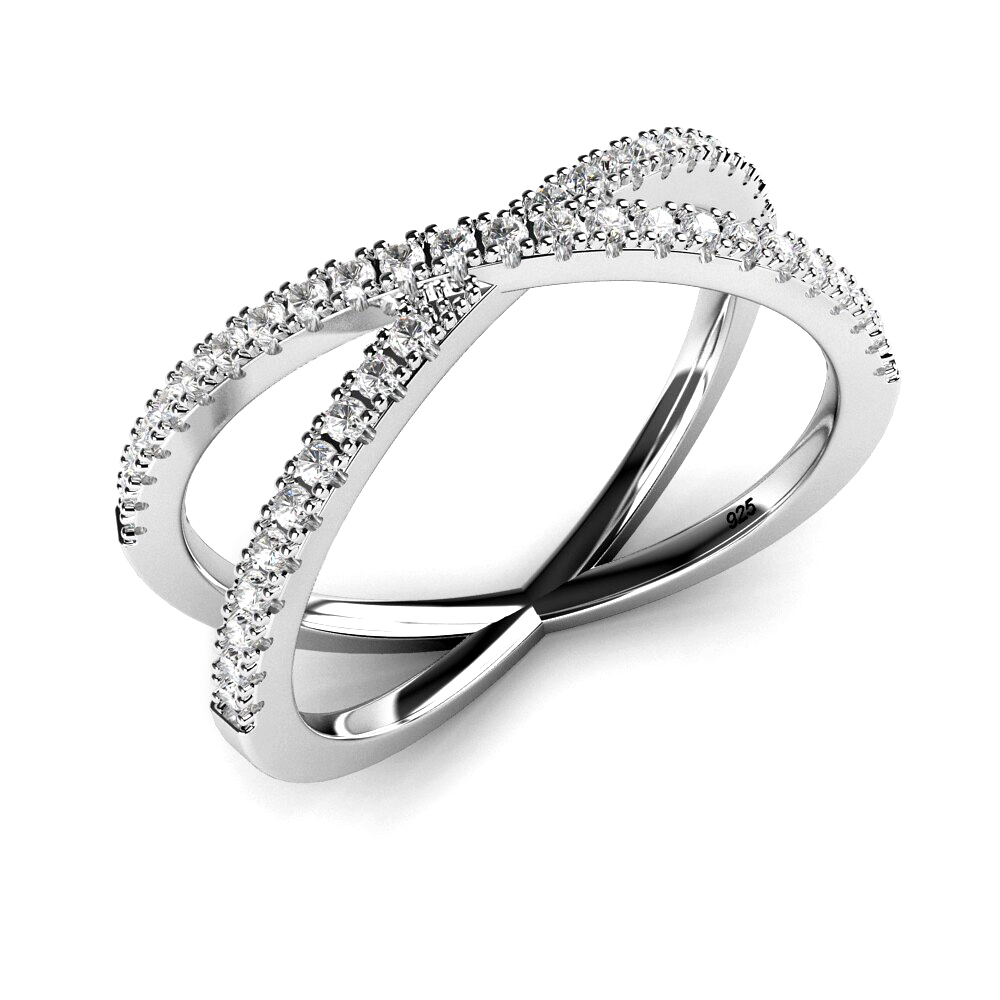 "Sterling Silver 925 Cubic Zirconia CZ Criss Cross ""X"" Ring"