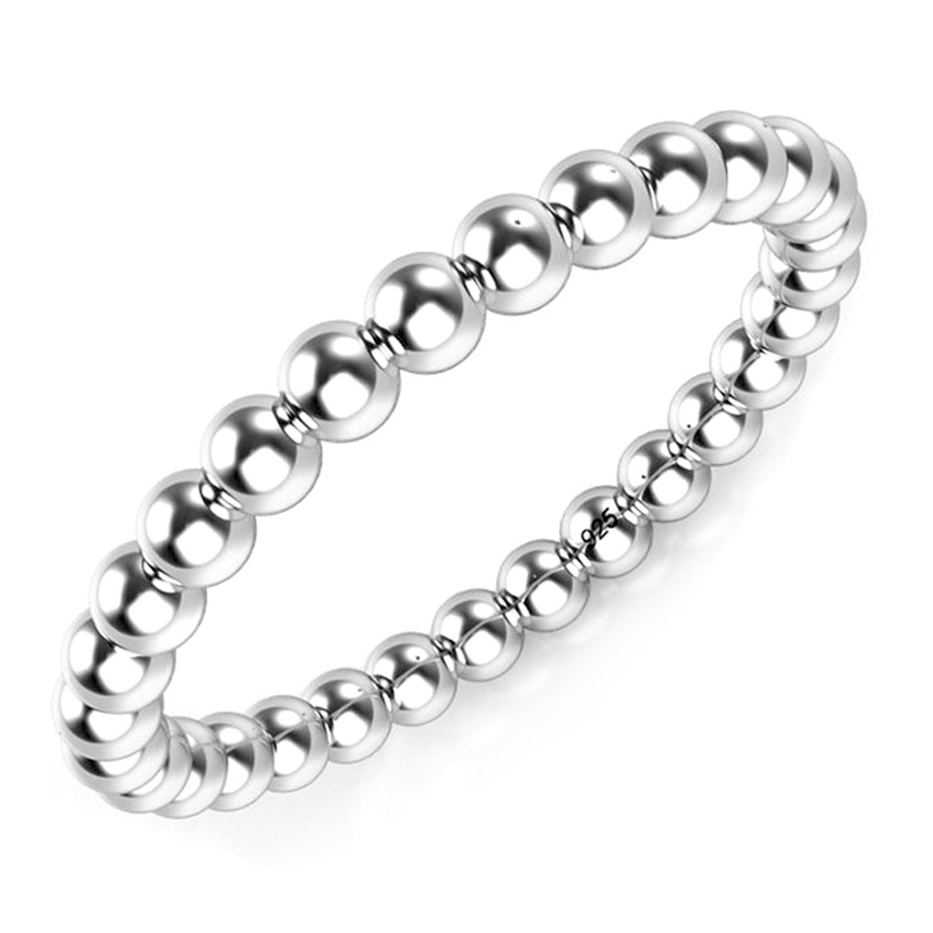 925 Sterling Silver 2MM Eternity Bead Ring