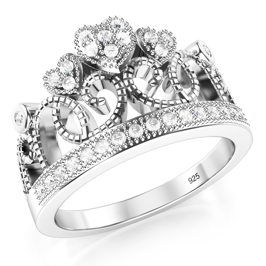 925 Sterling Silver Cubic Zirconia Princess Heart Crown Tiara CZ Band Ring