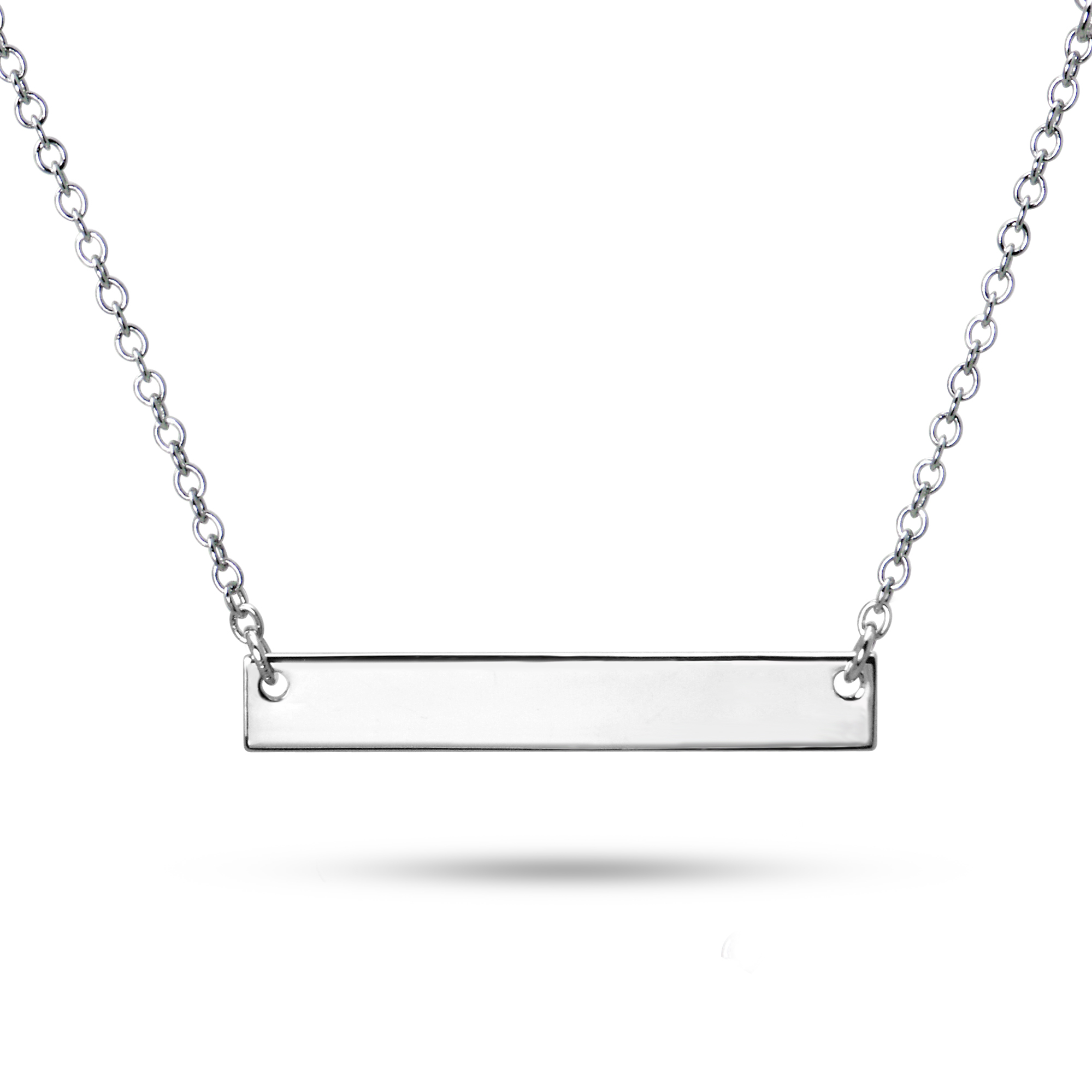 925 Sterling Silver Sideways Name Bar Pendant Necklace