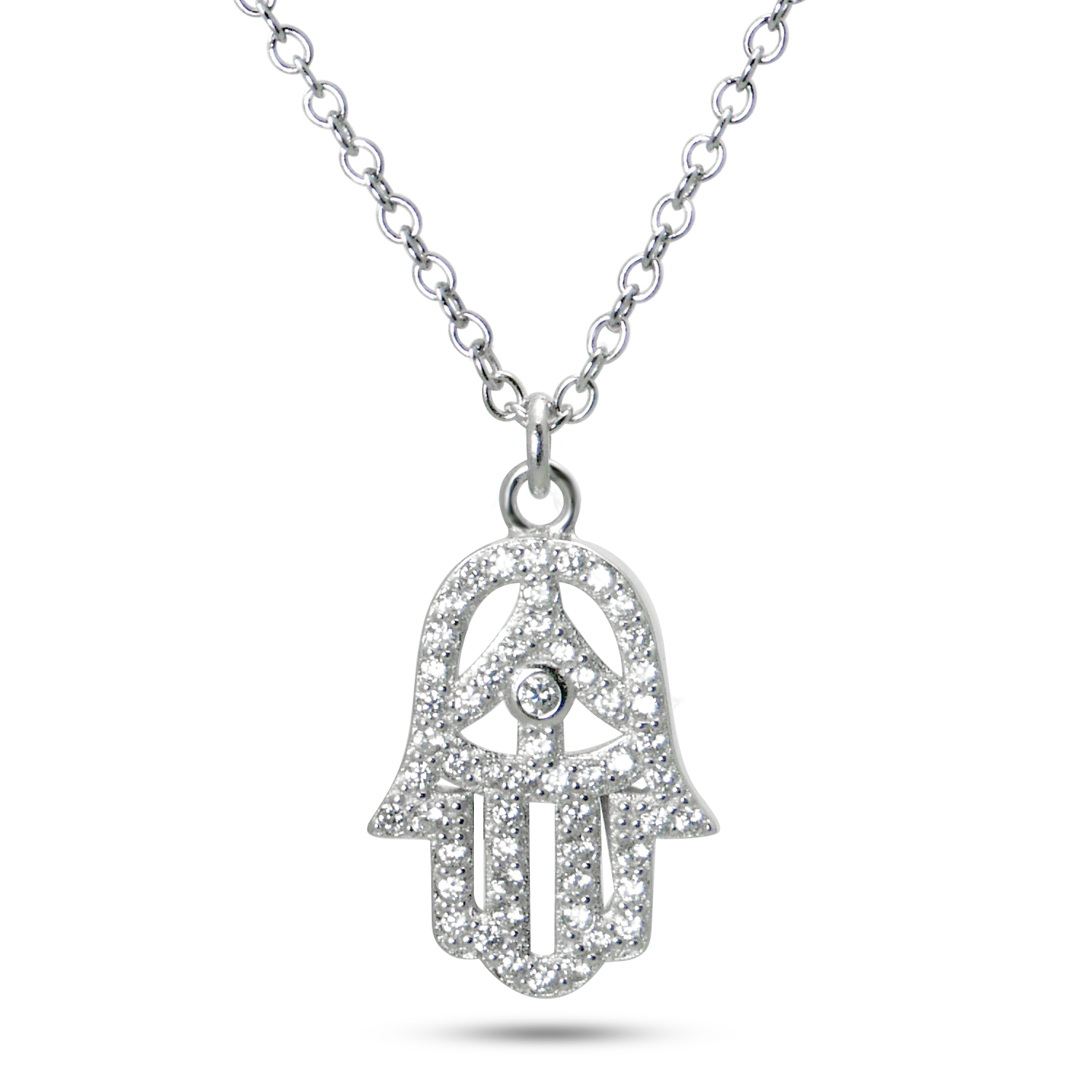 925 Sterling Silver CZ Cubic Zirconia Hamsa Hand of God Pendant Necklace