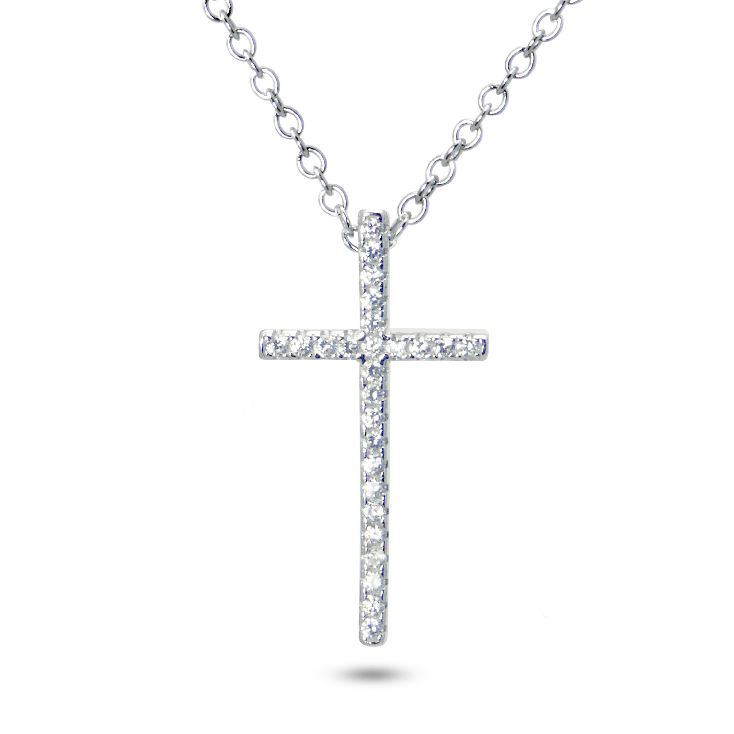 925 Sterling Silver CZ Cubic Zirconia Cross Pendant Necklace