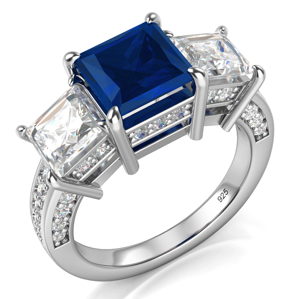 925 Sterling Silver Princess Cut Blue & White Cubic Zirconia CZ Engagement Ring