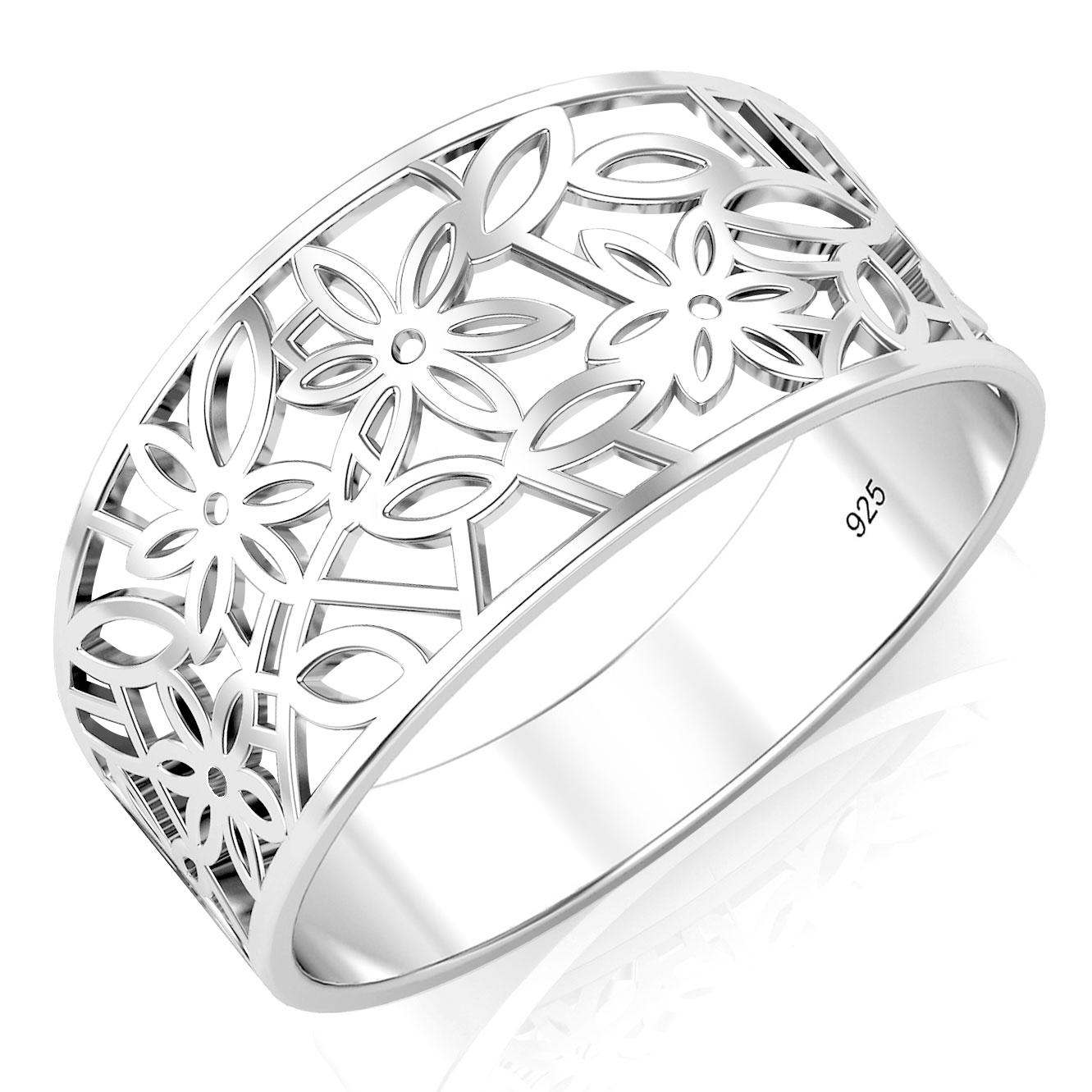 925 Sterling Silver Victorian Leaf Ring