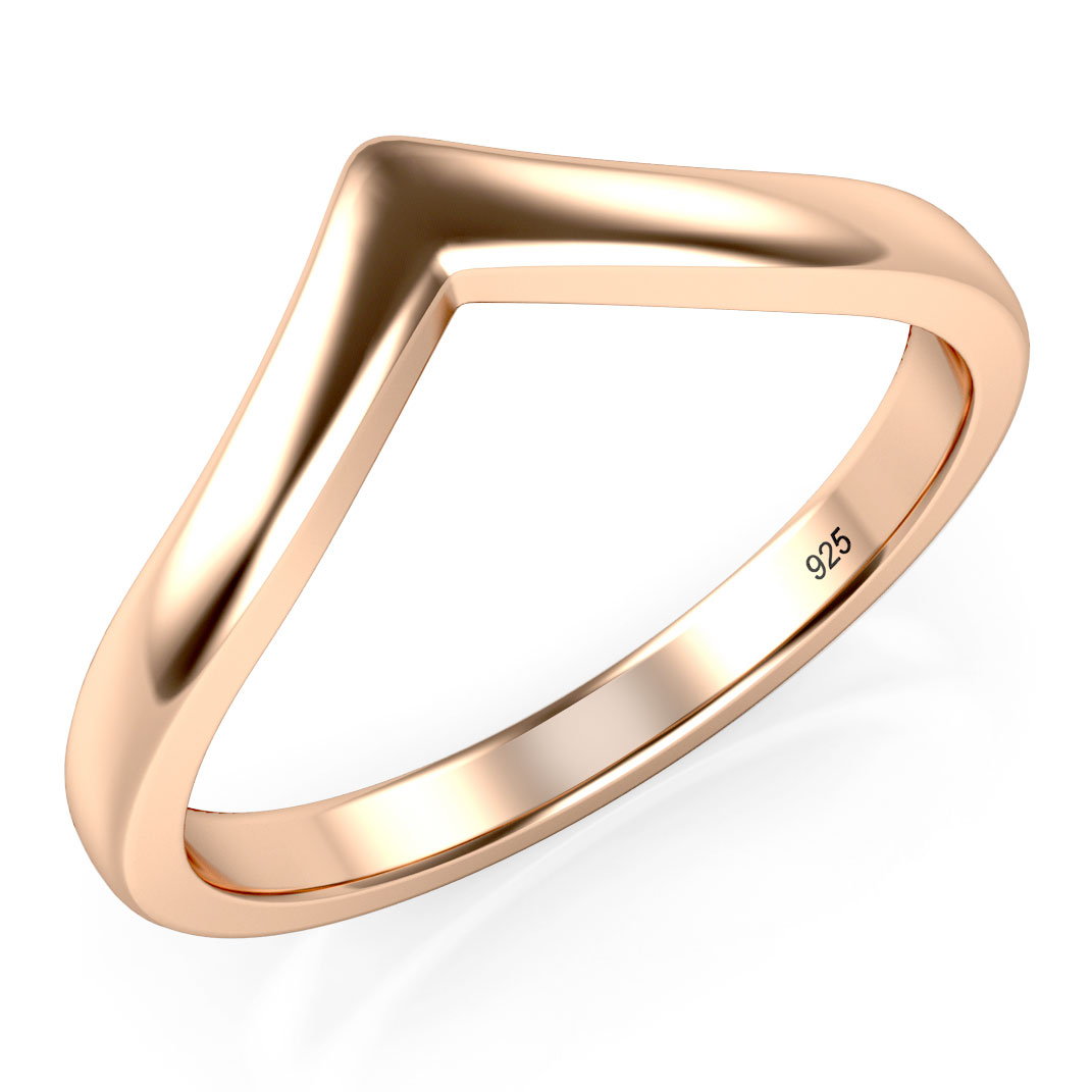Rose Gold Plated 925 Sterling Silver Chevron Stackable Ring