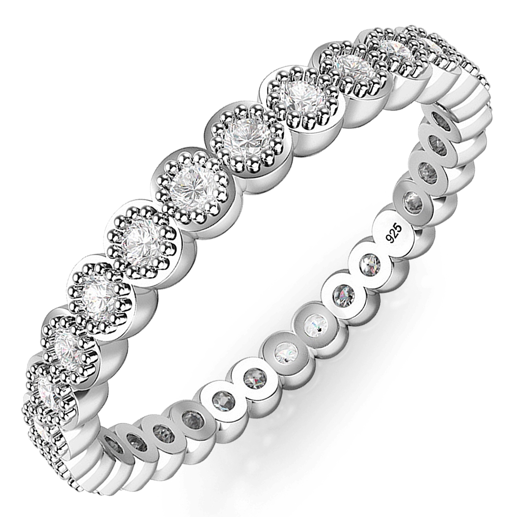 Sterling Silver CZ Stackable Anniversary Eternity Cubic Zirconia Band Ring