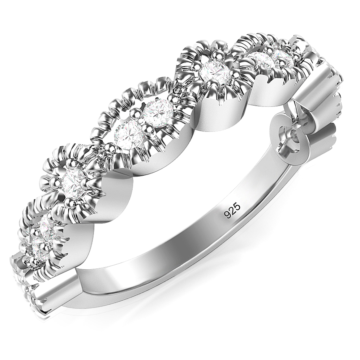 Sterling Silver CZ Stackable Anniversary Cubic Zirconia Band Ring
