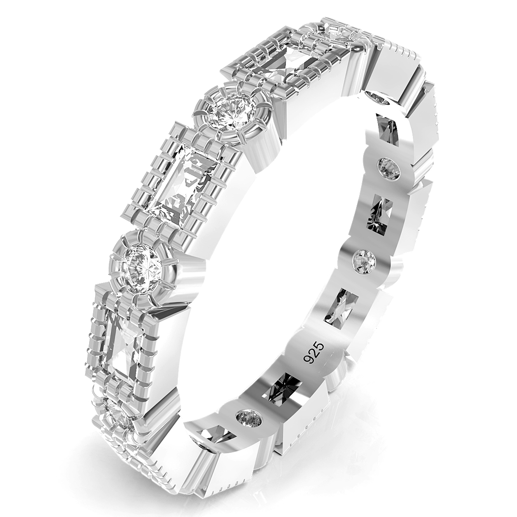 Sterling Silver Radiant & Round Cut CZ Stackable Anniversary Eternity Cubic Zirconia Band Ring