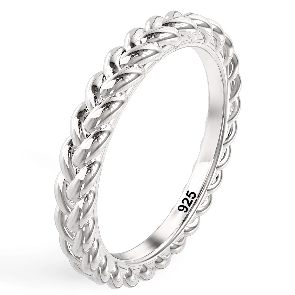 Sterling Silver Braid Style Stackable Eternity Band Ring