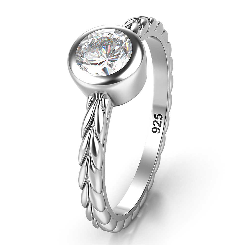 Sterling Silver Solitaire CZ Bezel Braided Style Wedding Engagement Ring