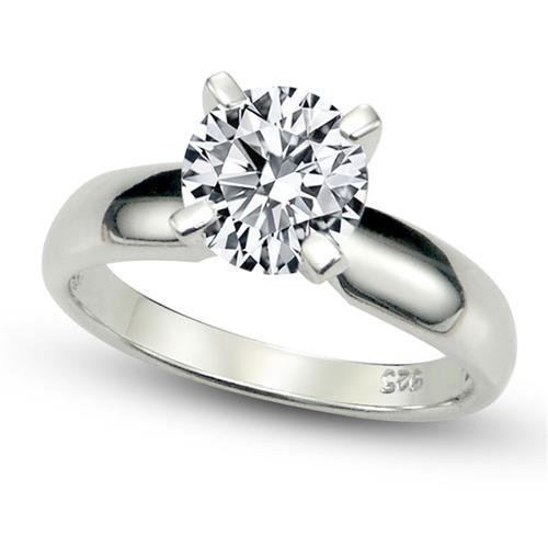 Metal Factory Sterling Silver Cubic Zirconia Solitaire 1.25 Carat tw Round Cut 4-Prong Set CZ Engagement Ring