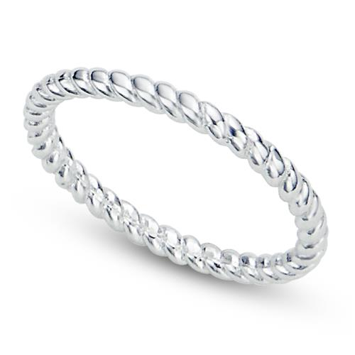 Metal Factory 925 Sterling Silver 2MM Eternity Rope Wedding Band Ring