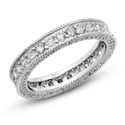 Metal Factory 925 Sterling Silver Cubic Zirconia CZ Vintage Milgrain Eternity Band Ring