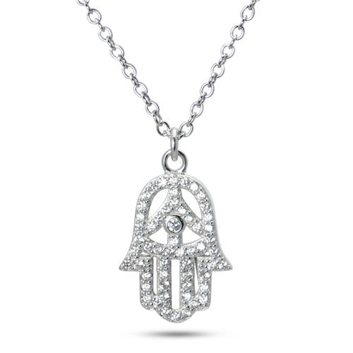 Metal Factory 925 Sterling Silver CZ Cubic Zirconia Hamsa Hand of God Pendant Necklace