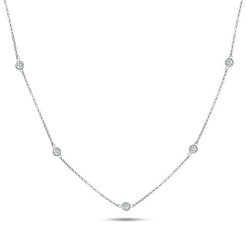 925 Sterling Silver CZ By The Yard Round Cut Cubic Zirconia Chain Necklace