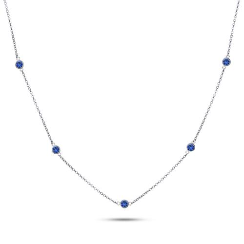 925 Sterling Silver Blue CZ By The Yard Round Cut Cubic Zirconia Chain Necklace