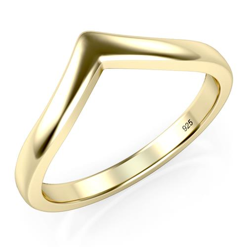 Yellow Gold Plated 925 Sterling Silver Chevron Stackable Ring