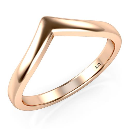 Metal Factory Rose Gold Plated 925 Sterling Silver Chevron Stackable Ring