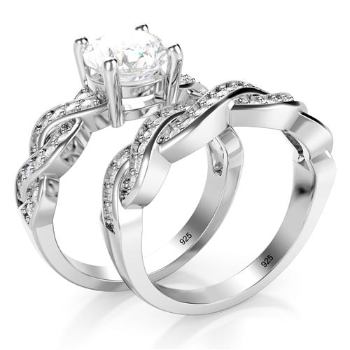 Sterling Silver 925 CZ Cubic Zirconia Infinity Wedding Engagement Ring Set