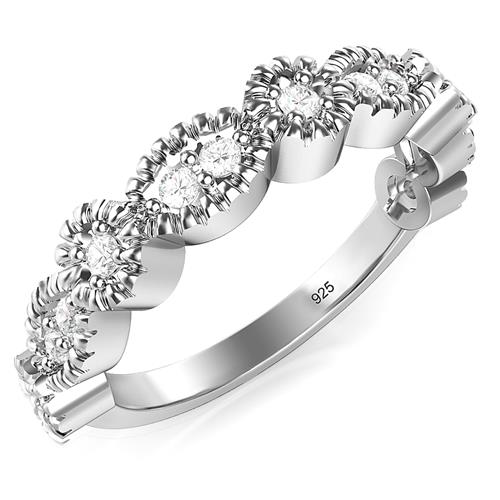 Metal Factory Sterling Silver CZ Stackable Anniversary Cubic Zirconia Band Ring