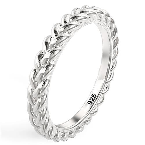 Metal Factory Sterling Silver Braid Style Stackable Eternity Band Ring