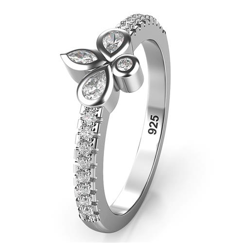 Sterling Silver Fleur de Lis CZ Wedding Engagement Ring